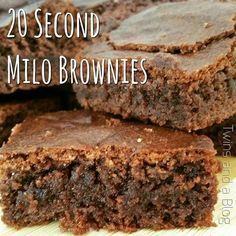 20 second Milo brownies Thermomix Gourmet Recipes, Sweet Recipes, Baking Recipes, Dessert Recipes, Diabetic Recipes, Yummy Recipes, Milo Recipe, Biscuits, Bellini Recipe