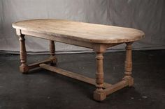 Exceptional Oval Antique Belgian Oak Dining Table with Carved Legs and Two End Stretchers Connected to Central Bottom Stretcher. Oval Kitchen Table, Farm Dining Table, Oval Table, Table And Chairs, Dining Rooms, Plank Table, Furniture Projects, Painted Furniture, Trestle Tables