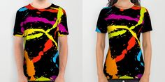 Fresh, colorful and bold Splattered Rainbow [Black] T-Shirts by Daniel Bevis on Society6 are fit for Summer fun!  #rainbow #paintball #splat #summerwear #summerfashion #menswear #womenwear #fresh #cool #fun #tshirts #apparel #clothing #fashion #danielbevis #alloverprints