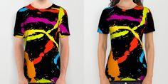 Fresh, colorful and bold Splattered Rainbow [Black] T-Shirts by Daniel Bevis on Society6 are fit for Summer fun!  #rainbow #paintball #splat #summerwear #summerfashion #menswear #womenwear #fresh #cool #fun #tshirts #apparel #clothing #fashion #danielbevis #alloverprints