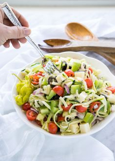 Zucchini noodle antipasto.  Yum! Leave out the peppers, though--overpowered it.