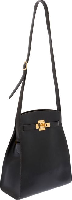 Hermes Vintage Black Calf Box Leather Kelly Sport Bag with Gold Hardware Handmade Handbags & Accessories - amzn.to/2ij5DXx Clothing, Shoes & Jewelry - Women - handmade handbags & accessories - http://amzn.to/2kdX3h7