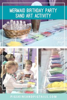 Setup a sand art activity for a mermaid themed birthday party. Find tips and links to the best place to buy colored sand. #mermaid #partygames