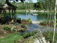 The Best Stone Waterfalls Backyard Ideas – Pool Landscape Ideas Natural Swimming Ponds, Natural Pond, Backyard Water Feature, Ponds Backyard, Backyard Ideas, Garden Ideas, Pond Landscaping, Landscaping With Rocks, Farm Pond