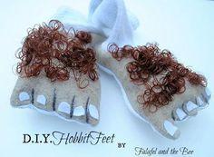 hobbitfeet2m Hobbit feet from felt and doll hair!