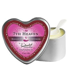 Earthly Body 3-N-1 Candle Heart Shaped Tin new scent First Kiss 4.7 ounces. Features: 100% Vegan. Melts into a warm, silky massage oil. Penetrates and moisturizes skin. Uses all-natural oils: Hemp Seed, Vitamin E, Jojoba, Avocado, & Apricot Oil. The most popular skin care products. Earthly Body's most popular skincare products are the 3-in-1 Massage Candles.  www.exquisitetreatsbodyandsoul.com