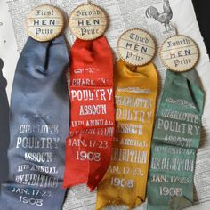Poultry Prize Ribbons 4 Vintage Hen by VintageRescueSquad on Etsy