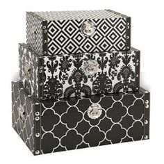 Set of 3 Bold Midnight Black and White Graphic Pattern Decorative Storage Boxes