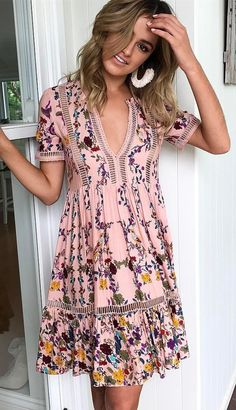 #spring #outfits Pink Floral V-neck Zilah Dress
