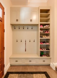 shoe cabinet ideas Closet Traditional with Fitted Furniture Shoe . Home Renovation, Home Remodeling, Mudroom Laundry Room, Shoe Storage Mudroom, White Paneling, My New Room, Home Projects, Room Inspiration, New Homes