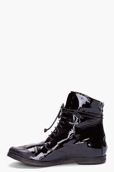 MARSÈLL Black Patent Lace Up Boots