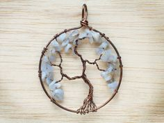 Blue lace agate Tree of life pendant  Copper wire by LullasJewelry
