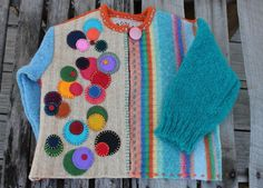 Creatively Upcycled Childrens Cardigan by Altered Wool 2019 awesomely upcycled childrens cardigan The post Creatively Upcycled Childrens Cardigan by Altered Wool 2019 appeared first on Wool Diy. Kids Knitting Patterns, Baby Knitting, Baby Sweaters, Wool Sweaters, Pullover Upcycling, Diy Kleidung Upcycling, Modelos Pin Up, Recycled Sweaters, Recycled Clothing