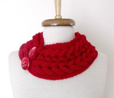 Red Braid Neckwarmer With button Ready For by knittingshop on Etsy