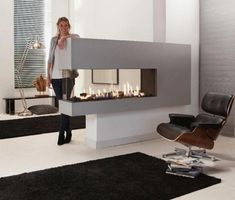 glass fireplaces in modern interiors