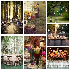 i like the tree trunk aisle markers, lanterns in the tree, and wood barrel for a drink cart