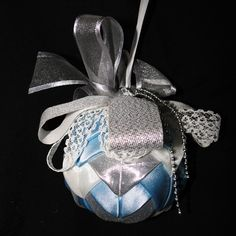 Large Luxury Bauble - Ice Blue Silver and Lace Christmas Baubles, Christmas Decorations, Holiday Decor, Unique Cards, Blue And Silver, Perfume Bottles, Greeting Cards, Ice, Luxury