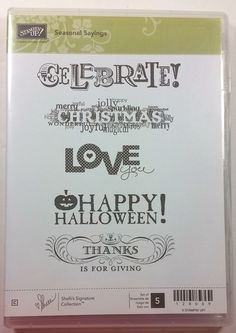 Stampin' Up! SEASONAL SAYINGS Clear Rubber Stamp Love Christmas Birthday Thanks #StampinUp #Background