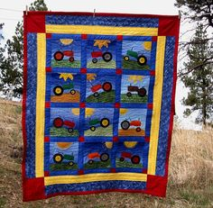 Tractors Twin Size Applique Quilt Ready Made. $235.00, via Etsy.
