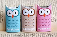 owl paper treat box  Eulen Verpackung für Süßes