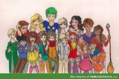 Harry Potter: The Second Generation Top Row: James Sirius Potter, Victoire Weasley, Teddy Lupin, Dominique Weasley, Molly Weasley, Fred Weasley, Roxanne Weasley.  Bottom Row: Scorpius Malfoy, Albus Potter, Rose Weasley, Lorcan Scamander, Lysander Scamander, Louis Weasley, Lucy Weasley, Lily Luna Potter, Hugo Weasley.
