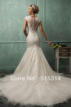Custom Made 2014 New Fashion Mermaid V-neck Lace Sexy Long Bridal Wedding Dresses with Crystal vestido de noiva Free Shipping S6