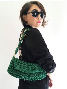 Green Shoulder Bag Green Knit Bag Textured Bag by knitknotsupplyco