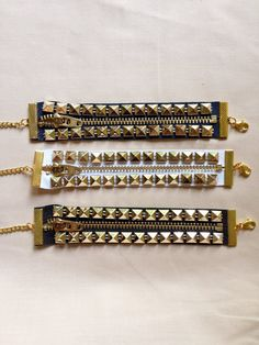 Studded zipper bracelet