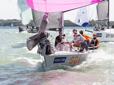 The quarter ton class yacht 'Illegal Immigrant' racing during Cowes Week.