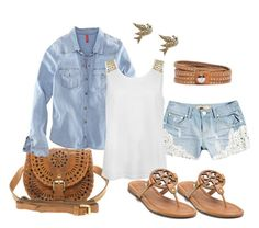 """""""Summer in Jean"""" by kenzie-jo ❤ liked on Polyvore featuring Cleobella, H&M, Retrò, Tory Burch, Roots and Betsey Johnson"""