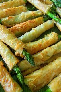 Asparagus Phyllo Appetizer...(veganize by subbing Earth Balance or coconut oil for butter & Nutritional Yeast or Vegan Parm for the Parm Cheese)