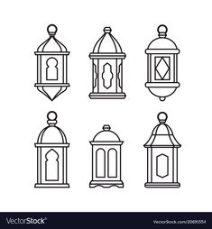 Set of traditional vintage arab lanterns. Isolated line icons, modern design. Vector illustrations for muslim holiday Ramadan Kareeem , Ramadan Activities, Ramadan Crafts, Ramadan Decorations, Lanterns Decor, Hanging Lanterns, Candle Lanterns, Green Lanterns, Rustic Lanterns, Paper Lanterns