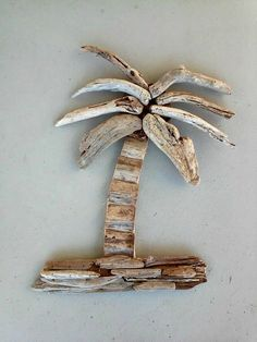 Driftwood Palm Tree Beach Cabin Decor by Oceanwoodcreation on Etsy