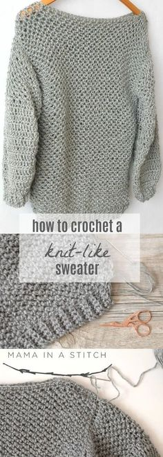 Love knit AND crochet? Whip up this easy crochet sweater that looks knit! Perfec… Love knit AND crochet? Whip up this easy crochet sweater that looks knit! Pin: 345 x 965 Pull Crochet, Gilet Crochet, Bag Crochet, Crochet Gratis, Crochet Woman, Crochet Cardigan, Crochet Clothes, Crochet Sweaters, Crotchet