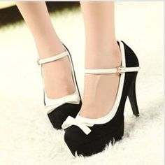 2013 new women's sweet bow knot high heel autumn shoes Korean Princess round shoe type T band suede design  free shipping $35.00