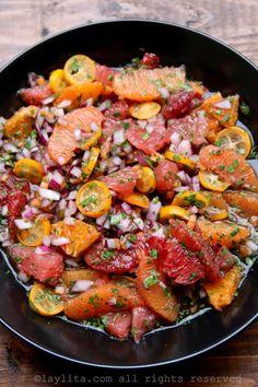 Salsa de naranjas y cítricos con chiles habaneros