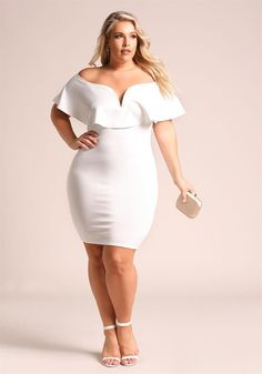 Plus Size Clothing | Plus Size Plunge Layered Off Shoulder Bodycon Dress | Debshops