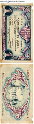 Lleida  - 1 pta. : Una pesseta, Ajuntament de Lleida. Emissió feta segons bases aprovades per l'Ajuntament en sessió del 30 de juny del 1937 :: Paper moneda del Pavelló de la República (Universitat de Barcelona)
