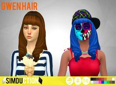Gwen Hair by Simduction   New hair for females, is a ts3 to ts4 conversion of a hair from ts3 store. Comes in 18 colours, hat compatible. Feel free to recolour!   TOU: Don't claim as your own, don't reupload and if you do recolors do not include the mesh.   Enjoy!  DOWNLOAD   If you like my custom content, you are welcome to donate in my PayPal, my mail is borreyagamy@gmail.com