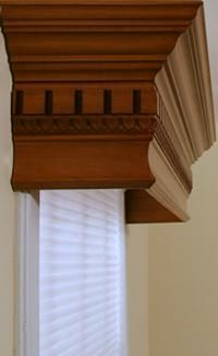 """Makes a statement.  Cornices over blinds/drapes - This would look great over my wood blinds. """"Oh Honey..."""""""