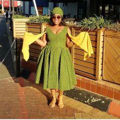 Recent shweshwe dress patterns 2019 ⋆ – Rezepte African Attire, African Wear, African Dress, Ankara Styles For Men, Latest Ankara Styles, South African Traditional Dresses, Traditional Outfits, African Print Fashion, African Fashion Dresses