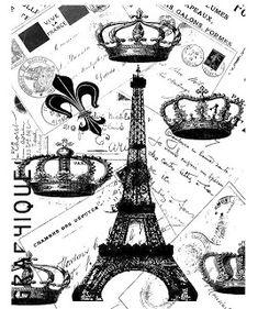 Paris French Postcard Eiffel Tower Crowns Collage by Graphique French Art, French Vintage, French Romance, Vintage Postcards, Vintage Images, Shabby Chic, Vintage Paris, Digi Stamps, Tour Eiffel