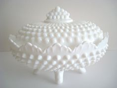 Fenton White Hobnail Dish Milk Glass Footed. Love it!!