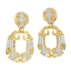 094c6012f972 David Webb Hungry Lion Gold and Diamond Earrings ( ) Pulsera De Dragón