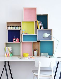 colorful creative home office inspiration with lots of shelves and storage. Box Shelves, Shelving, Wall Shelves, Shelf Desk, Crate Shelves, Ideas Para Organizar, Diy Casa, Kids Storage, Storage Ideas