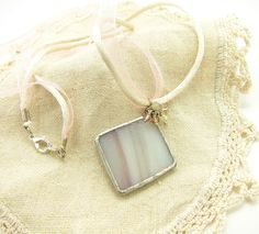 Mauve & White Stained Glass Pendant Necklace