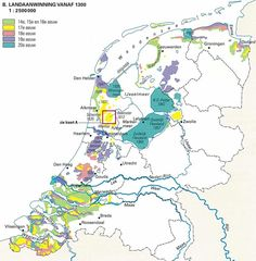 Reclaimed land by century, since 1300 AD. - The geography of the Netherlands is unusual in that much of its land has been reclaimed from the sea and is below sea level, protected by dykes. Holland Map, Netherlands Map, Vintage Maps, Antique Maps, Historical Maps, Old Maps, City Maps, Sea Level, Dutch