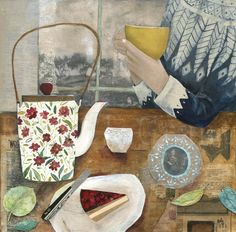 """After the Bake"" Tea and cake in a favourite Norwegian knit. Artwork from a series inspired by the Danish idea of 'Hygge' by Rachel Grant Illustration. Rachel Grant, Pull Jacquard, Grandma Moses, Art Grants, Still Life Images, Beautiful Collage, Art Plastique, Belle Photo, Collage Art"