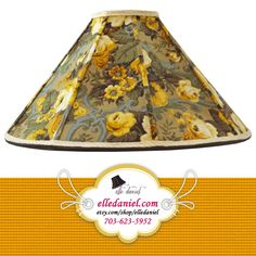 Gold floral lampshade for sale. Order custom lamp shades (703-623-5952) or buy designer lamp shades at www.etsy.com/shop/elledaniel. #LampShades #Custom #Designer