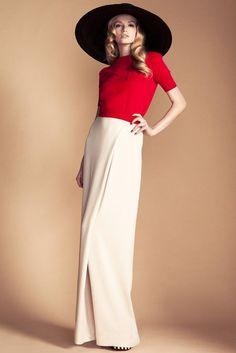 Temperley London Resort '13, large navy hat, red top, white wide leg pants